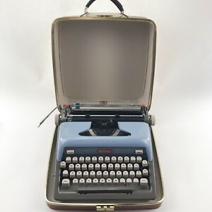 Vintage Royal Typewriter Futura 800 Blue Portable Manual Case Mid Century Modern
