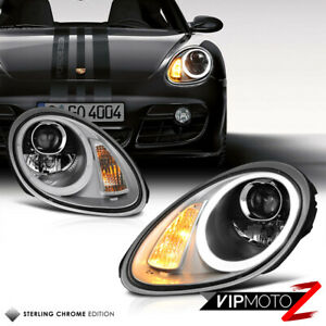 turbo Style Quad Led 2005 2008 Porsche Boxster Cayman Gunmetal Grey Headlights