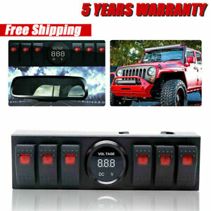 Overhead 6 switch Pod Rocker Toggle Switch Panel Fit Jeep Wrangler 2009 2017