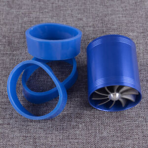 Double Dual Air Intake Supercharger Turbo Turbine Fuel Saver Fan Blue