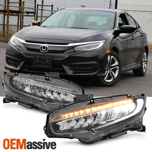 Type R Style Fit 16 20 Honda Civic Lx Ex Si Full Led Sequential Headlights