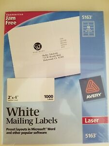 Avery Laser Shipping Labels 5163 2 X 4 New Unopened Box Of 1000