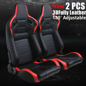 Universal 2pcs Pvc Racing Seats Black red Faux Leather Reclinable Bucket Seat