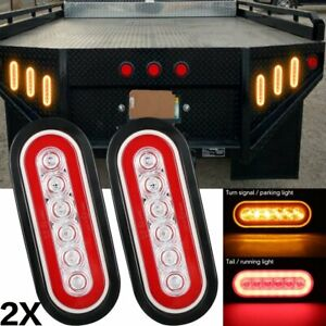 2x 6 Inch Oval Red Amber Led Turn Signal Park Tail Lights For Peterbilt Truck
