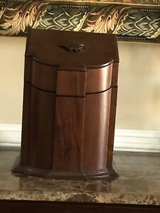 Late Georgian Antique Walnut Cutlery Or Knife Box Cabinet With Sloped D Front