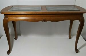 Vintage Console Entry Sofa Table With Queen Anne Legs Beveled Glass Top