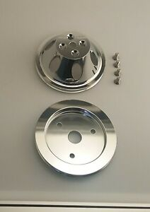 Big Block Chevy Short Pump Chrome Aluminum Pulley Set 396 427 454 Single Groove