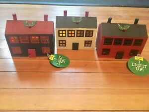 New Wood Country Decor Primitive Light Up 3 Houses