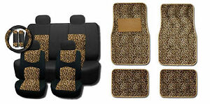 New Brown Cheetah Mesh 15pc Full Set Car Interior Seat Covers And Floor Mats
