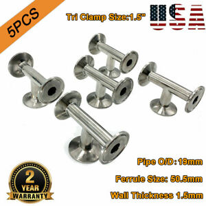 1 5 Tri Clamp Clover Tee Fitting 3 way Tee 304 Stainless 19mm Pipe Od 5pcs New