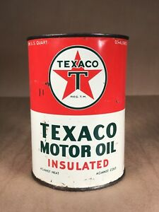 Vintage TEXACO Insulated Motor Oil Metal 1 Quart Can Gas Oil