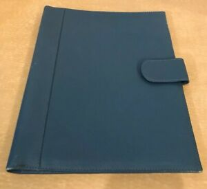 Levenger Blue Leather Writing Business Padfolio Portfolio Full Size Paper
