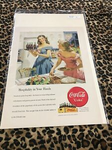 COCA COLA Ad Advertisement NEW YORKER 1948 HOSPITALITY IN YOUR HANDS c322