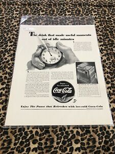 COCA COLA Ad Advertisement VINTAGE Fortune 1941 USEFUL MOMENTS IDLE MINUTES c251