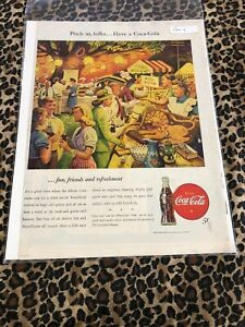 COCA COLA Ad Advertisement VINTAGE LIFE 1946 PITCH IN FOLKS c292
