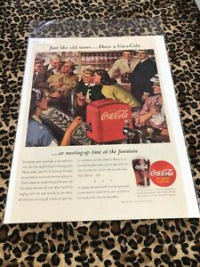 COCA COLA Ad Advertisement Vintage SAT EVENING POST 1945 LIKE OLD TIMES c209