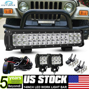 14 90w Led Work Light Bar 4 Pods remote Kit For Jeep Offroad Driving Suv Atv