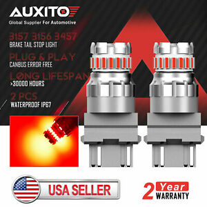 2x Auxito 3157 3156 Canbus 23smd Red Led Brake Tail Stop Light Bulb Error Free