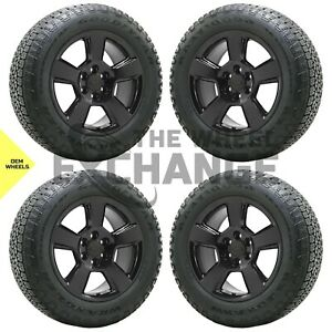 20 Gm Silverado Sierra 1500 Truck Black Wheels Rims Tires Factory Oem Set 5652