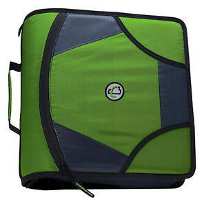 Case it Zipper Binder With 5 Tab Files D ring 4 Inches Green