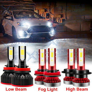 For Ford Fusion 2006 2016 6000k Led Headlights High Low Beam Fog Light Bulbs Kit