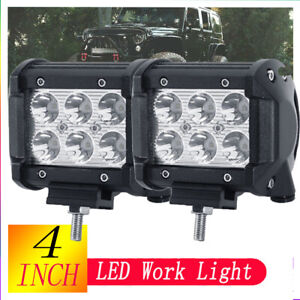 2pcs Square Roof Top Fog Driving Light Bar For Suv Truck Jeep 4x4 Off Road Clear