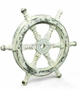 18 Antique White Nautical Handcrafted Wooden Ship Wheel Home Wall Decor Gift