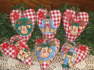 Country Christmas Home Decor 6 Reindeer Hearts Tree Ornaments Wreath Making