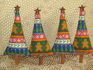 4 Country Christmas Gingerbread Fabric Trees Wreath Accents Home Decor