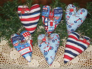 6 Patriotic Hearts Country Wreath Making Accents 4th Of July Decor Ornaments
