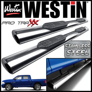 Westin Pro Traxx 6 Stainless Oval Nerf Step Bars Fit 2009 18 Dodge Ram Crew Cab