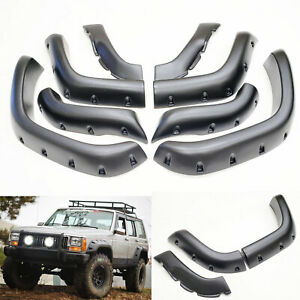 6 Pocket Style Fender Flares 8 Pc Set Fit 84 01 Jeep Cherokee Xj Textured Black