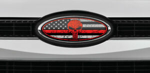 Ford Overlay Punisher Distressed Us Flag Thin Red Line Overlay Decals 3pc Kit