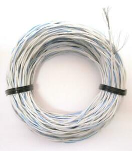 50 Mil spec 22 awg Twisted Stranded Pair Blue white Silver Plated Wire Etfe