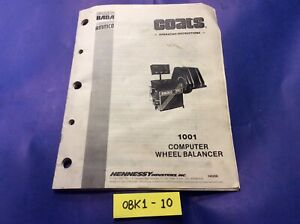 Coats 1001 Computer Wheel Tire Balancer Operating Instructions Armco Baca