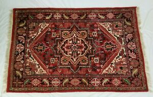 Vintage Hand Knotted Wool Floral Rug Bohemian Persian Oriental 47 X 77