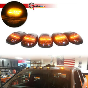 5x Smoke Cab Roof Marker Running Lamps W Amber Led For 03 16 Dodge Ram 2500 3500