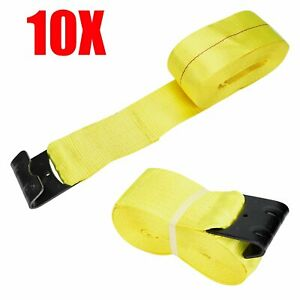 10pcs 4 X 30 Winch Straps W Flat Hook Flatbed Truck Trailer Tie Down Strap Fh