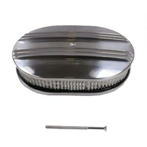 12 Oval Nostalgic Half Finned Top Moon Aluminum Air Cleaner Kit With Element