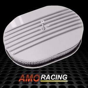 12 Oval Partial Finned Polished Aluminum Classic Nostalgia Air Cleaner Filter