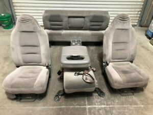 01 Ford F250 Super Duty Crew Cab Used Front Rear Manual Cloth Seats W Console