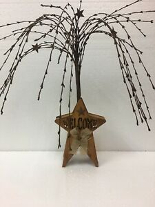 Wooden Welcome Star Berry Garland Metal Star Country Primitive Decor