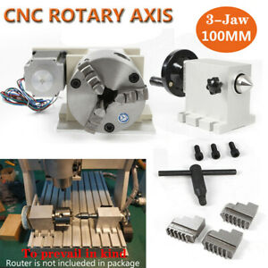 Rotation 4th Axis 3 Jaw Chuck 65mm Cnc Router Rotary Table A Axis Tailstock
