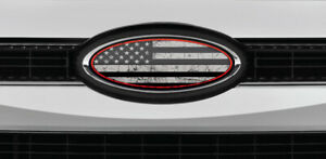 Ford Overlay Distressed Thin Red Line Flag Logo Overlay Decals 3pc Kit