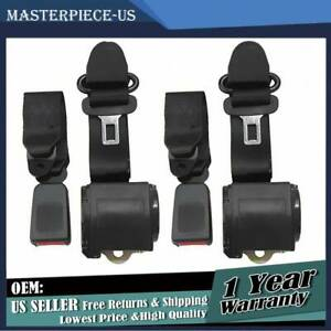 2x Fit For Jeep Cj Yj Wrangler 1982 95 Universal 3 Point Retractable Seat Belts