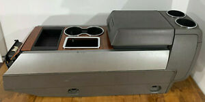07 14 Ford Expedition Center Floor Console Armrest Unit Woodgrain Gray Leather