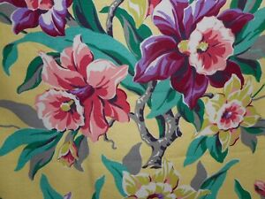 Antique Vintage Orchid Floral Barkcloth Fabric Yellow Purple Jade Green Pink