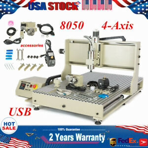 Usb 4 axis 8050 Cnc Router Engraver Milling Drilling Cutter Machine Woodworking