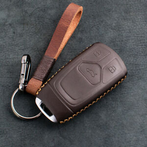 Retro Brown Leather Car Key Case Cover Shell For Audi 2017 2019 A4 A5 Q5 Q7 Tt