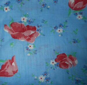 Antique Vintage Poppy Roses Forget Me Not Floral Cotton Fabric Red Pink Blue
